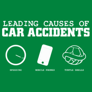 Leading causes of car accidents, speeding, mobile phones, turtle shells Design